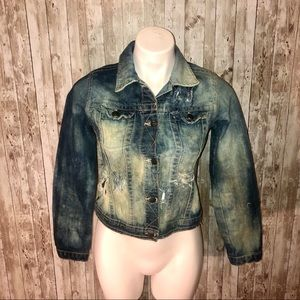 Gap cropped distressed, bleached jean jacket